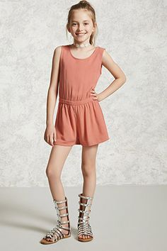 Forever 21 Girls - A gauze woven romper featuring an allover floral print, a round neckline, sleeveless cut, elasticized waist, and a buttoned keyhole back closure.