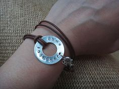 Beatles quote leather wrap bracelet with silver and antique brown cord - 'come together'
