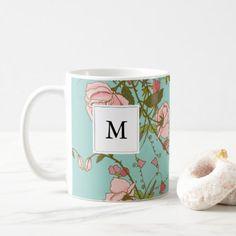 Elegant Vintage Nature Pink Roses Beautiful Flower Coffee Mug - flowers floral flower design unique style