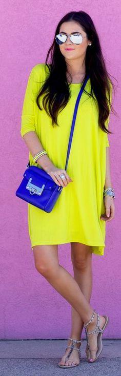 Electric Lime Short Sleeve Summer Dress