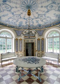 How Lovely ~ Pagodenburg...love the intricated painted ceiling