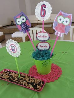 Owl party centerpiece.