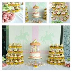 Dessert table with cupcakes macarons and the carousel cake as the centre piece