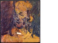 """Head of Jake, 1998: """"the head seems to materialise out of a storms of lines and colour, giving a sense of psychological intensity."""" Frank Auerbach"""