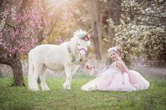 accessories photography Blush light pink flowers gold white unicorn horn and lead rope for horse pony accessory photography