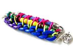 TheBuzz,  Neon chunky bracelet cuff, knotted with ropes and chunky chains, sports chic, unique OOAK jewelry
