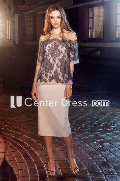 e9db545517 Pencil Knee-Length Off-The-Shoulder Half Sleeve Jersey Lace Dress. Bateau  NecklineTea LengthLace AppliqueHalf ...