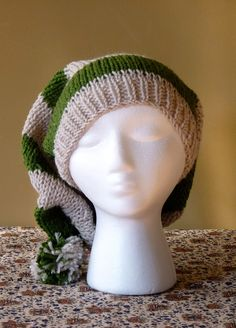 Chunky Hand Knit Slouchy Stocking Hat Slytherin by drollicpixie, $32.00