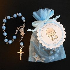 60 Mini Rosary Favors Baby Boy Baptism Favors by susiedees