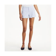 Club Monaco Amber Short in Color Blue ($59) ❤ liked on Polyvore featuring shorts, blue, blue short shorts, eyelet shorts, pastel shorts, slim fit shorts and scallop hem shorts