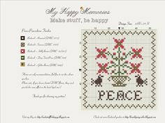 Peace Pincushion Freebie | My Happy Memories - a great blog with a number of very pretty freebies and patterns.