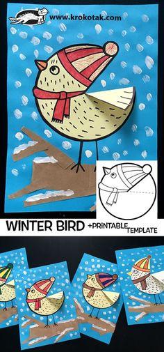 Winter bird crafts for kids children ideas Kids Crafts, Winter Crafts For Kids, Winter Kids, Toddler Crafts, Art For Kids, Felt Crafts, Winter Art Projects, Projects For Kids, Kindergarten Art