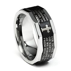 Valentines Day 9mm Black Plated Cobalt Free Lord's Prayer Tungsten Carbide Faceted Edge Comfort-Fit Wedding Band Ring (Size 8 to 14) The World Jewelry Center. $38.00. Promptly Packaged with Free Gift Box and Gift Bag. Tungsten has a tendency to break when hit with a hard material. scratch proof