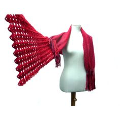 Handwoven and Crochet Shawl Scarf Cherry Red Coral Burgundy Purple... ❤ liked on Polyvore featuring accessories, scarves, shawl scarves, wool scarves, woolen shawl, purple shawl and purple stole