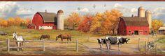 "Borders by Chesapeake Jonny American Farmer Portrait 15' x 7.5"" Scenic 3D Embossed Border Wallpaper"