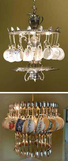 Stunning Creativity!! Cake Vintage: Recycled Lamps and Spoondeliers vintage teacups, idea, teacup chandeli, cakes, chandeliers, vintag teacup, silver spoons, cake vintag, tea light