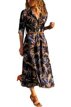 99373086e4 Cheap Dark Bohemian Floral Print Button Down Belted Shirt Dress only US$  14.38, Boho