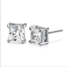 2ct Asscher cut CZ set in Sterling silver Beautiful 2 ct CZ cubic zirconia  is set in sterling silver Jewelry Earrings