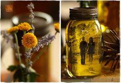 Retrato vintaje reutilizando frascos de vidrio.