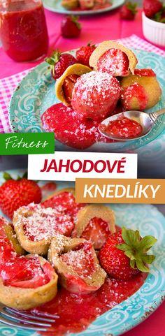 Fitness tvarohové jahodové knedlíky - zdravý recept by Bajola - strawberry dumplings