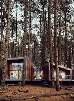 Concept Models Architecture, Modern Architecture Design, Beautiful Architecture, Modern House Design, Cabin In The Woods, Forest House, 3d Architectural Visualization, Hotels, Design Magazine