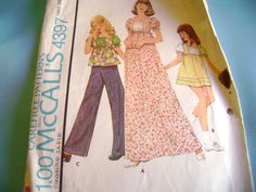 VINTAGE MCCALLS SEWING PATTERN 4397 GIRLS MAXI DRESS TOPS SZ 12 #McCall