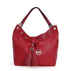 Michael Kors Camden Drawstring Large Red Shoulder Bags : mkoutlets.net