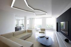 Гостиная в минимализме   #белый #камин #минимализм