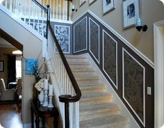 espresso railings and white balusters - idea for the entryway? Staircase Remodel, House Design, Foyer Decorating, Remodel, House, Stairways, Staircase Handrail, New Homes, Staircase