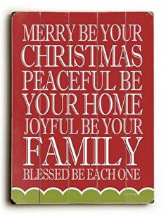 Merry Peaceful Joyful Wood Sign