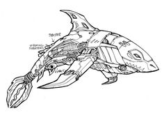 Transformers: Robots in Disguise Ongoing Sky-Byte Character Design Fantasy Drawings, Fantasy Kunst, Fantasy Art, Shark Drawing, Robots Drawing, Animal Sketches, Animal Drawings, Art Drawings, Robot Concept Art