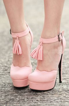 platform, fashion, style, pale pink, tassels, scallop, pink shoes, heels, light