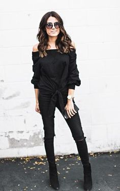 Ily Couture Off the Shoulder Tie Sweatshirt - Black Ankle Boots Outfit Winter, Winter Boots Outfits, Fall Outfits, Work Outfits, Black Work Outfit, Black Sweater Outfit, Hello Fashion Blog, Ily Couture, Ripped Denim