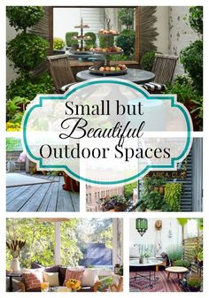 Small but beautiful outdoor spaces. Ideas for decorating your small outdoor space whether it's a backyard deck, a patio or a covered porch. Ways to make small outdoor spaces into a beautiful oasis. Small Outdoor Spaces, Outdoor Rooms, Outdoor Gardens, Outdoor Living, Outdoor Decor, Outdoor Bars, Small Spaces, Backyard Patio, Backyard Landscaping