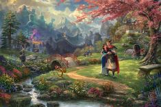 "Disney ""Mulan Blossoms of Love"" Restricted Version Artwork ~ Authentic portray by Thomas Kinkade Car Thomas Kinkade Disney, Thomas Kinkade Art, Disney And Dreamworks, Disney Pixar, Walt Disney, Kinkade Paintings, Oil Paintings, Hanging Paintings, Painting Art"