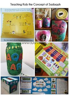 TEACHING KIDS THE CONCEPT OF SADAQAH - sadaqah jar, charity shop, zakat book, sadaqah jaariyah box etc. islamic crafts for kids