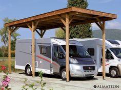 Carport Camping-Car en bois d'épicéa, 340 x 760 x H 370 cm.