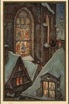 John the Baptist Church in Gouda, Holland. Drawing by Anton Franciscus Pi … Anton Pieck, Theme Noel, Dutch Painters, John The Baptist, 3d Prints, Dutch Artists, Illustrations And Posters, Christmas Art, Christmas Night