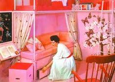 Pink home decor became common in every household 1950's