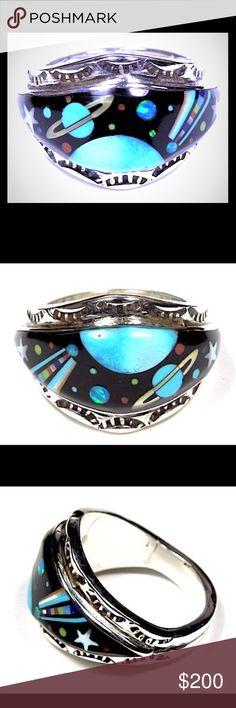 Native American Galaxy Gem Inlay Sterling Ring Native American Multi-Gemstone Galaxy Mosaic Inlay Sterling Silver Ring. Size 9. The gemstones used in this inlay ring are Sleeping Beauty Turquoise, Spiny Oyster Shell, Mother of Pearl, Black Onyx, and fire Opal. The top width of the ring measures 17mm or 111/16''. Stamped sterling and hallmarked by the artist. Interstellar beauty! Vintage Jewelry Rings