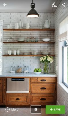 open shelving subway tile small kitchen