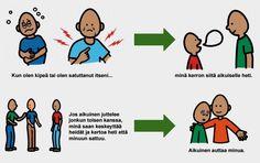 Erityislapsen kasvun- ja kehityksen tueksi: Kun on oikein kipeä tai satuttanut itsensä, silloin saa keskeyttää esim. toisilleen juttelevat aikuiset.