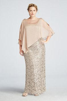 4a8525d808756 Plus Size Women S Urban Clothing. Sleeveless Sequin Lace Dress with Capelet  3112DW