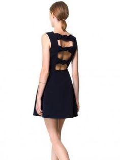Bowknot Back Hollow Out Sleeveless Short Dress