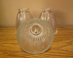 Highly Reflective Thick Ribbed Glass Lamp Shades - Set of 3 - Very Nice Condition with Free Shipping