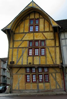 Medieval house in Troyes, France.  Love the color combination.
