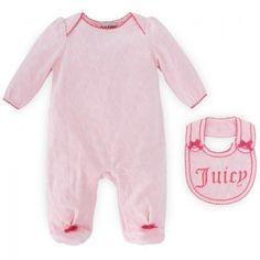 Juicy Couture Babies Pink Romper and Bib Set  | AlexandAlexa