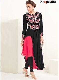 Black & Pink Georgette Party Wear Kurti-8023