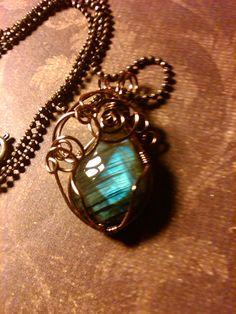 Stunning wire wrapped labradorite necklace by WyldefiresEmporium, $22.00