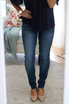 My August Stitch Fix For Less... Kensie skinny jeans and Franco Sarto nude pumps with low heels